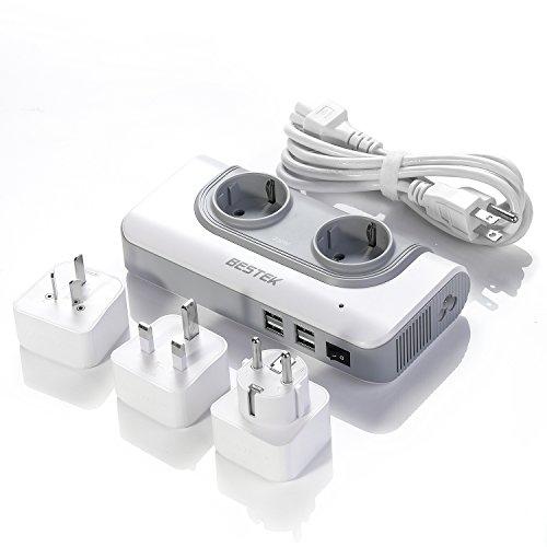 BESTEK 200W Spannungswandler mit 4 USB Reiseladegerät 110v auf 230v Reiseadapter Stromwandler mit austauschbare UK, EU, AU Reisestecker für Reisen nach USA, Kanada, Australien, China, England,Thailand weiß