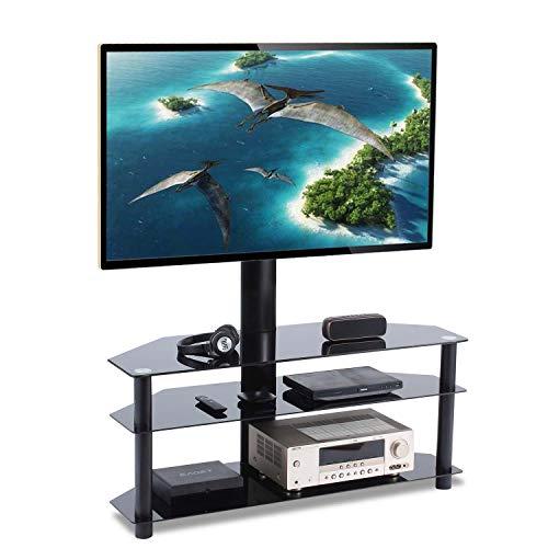 TAVR Furniture TV Ständer Standfuß fur 32' - 65' Zoll LCD/LED/Plasma Fernseher Fernsehtisch mit Halterung inkl. Kabelführung mit SchwarzGlas Regale max. 50kg