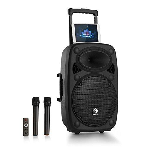 auna Streetstar 15 2.0 Edition • mobile PA-Anlage • 15' (38,1 cm) Subwoofer mit 1000 W max. Leistung • Bluetooth • USB/SD/MP3 • robustes ABS-Gehäuse • Formate: MP3, WMA, ID3-Tag • Akku • schwarz