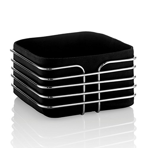 Frühstückskorb Brotkorb Brötchenkorb Stoff schwarz 21,5 x 21,5 cm