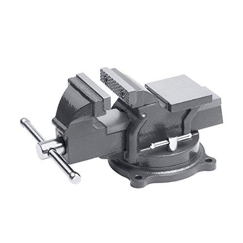 Meister Schraubstock 100 mm - Drehbar - Bis 100 mm Spannweite - Stahlbacken/Tischschraubstock mit Amboss/Schraubstock massiv für Werkbank mit zusätzlichen Schutzbacken/5143500