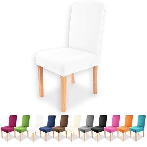 Gräfenstayn Strech-Stuhlhusse Charles - verschiedene Farben für runde und eckige Stuhllehnen bi-elastische Passform mit Öko-Tex Siegel Standard 100 30440 (Weiß)