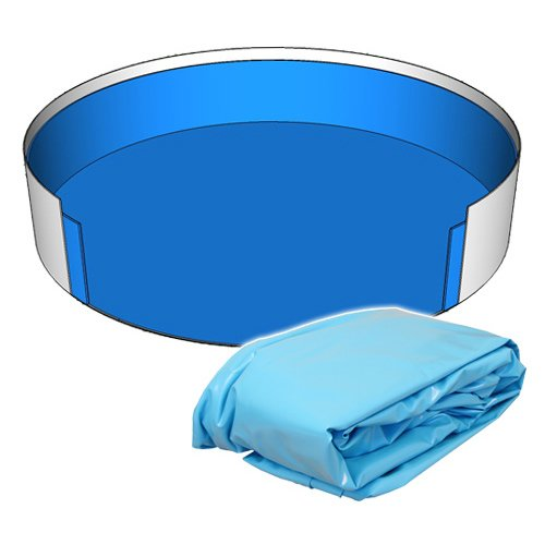 Poolfolie Innenhülle Rund Pool 350 x 90 cm - 0,6 mm blau überlappend Rundbecken 3,50 x 0,90 m