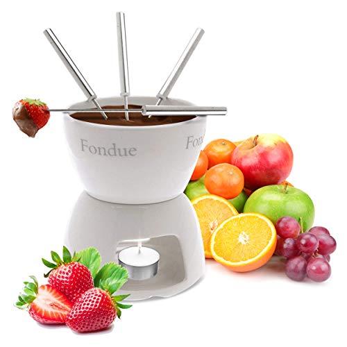 Oramics Schokofondue Set aus Keramik mit 4 Fondue Gabeln– einfach mit Teelicht erwärmen und genießen – Schoko Foundue Teelichtfondue Schokofondant
