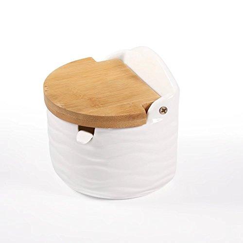 Zuckerdose, 77L Glas Zucker Schüssel mit Löffel und Deckel aus Bambus für Zuhause und Küche–Modernes Design, Weiß, 8,4Oz (250ml)