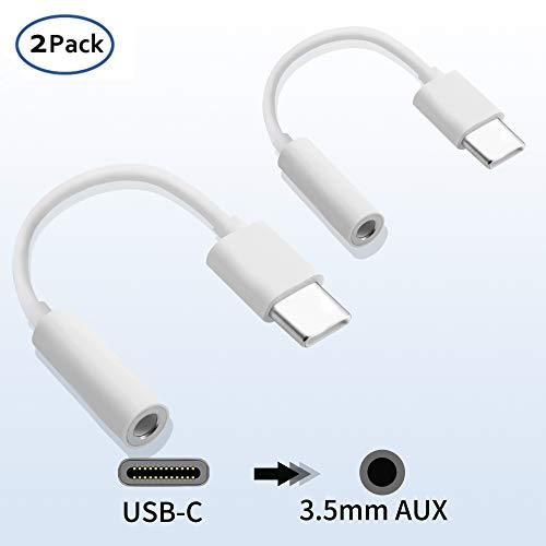USB C auf 3,5 mm Kopfhörer Adapter, USB Typ C auf 3,5 mm Jack AUX Audio Adapter Mikrofon Anschlusskabel für Huawei P20/P20 Pro/P30/P30 Pro, Xiaomi 6/8, Mix 2/3, OnePlus6T (2 Stück)