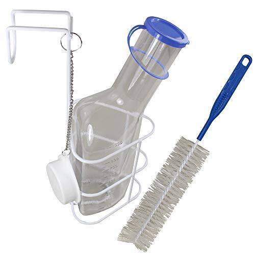 Urinflasche + Betthalter + Bürste PC Qualität Urinflaschen von Medi-Inn