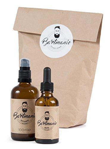Bartmanie 2 teiliges Bartpflege-Set bestehend aus Bartshampoo (100ml) & Bartöl (50ml), Geschenkset für Männer - Perfekte 3 Tage Bart-Pflege