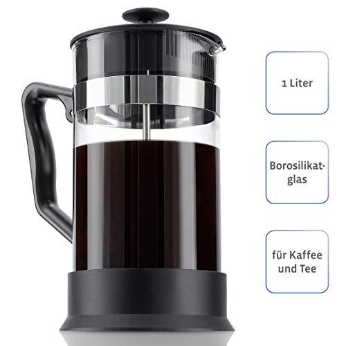 Xavax Kaffeebereiter (aus Glas 1 Liter, Zubereiter Glas, Edelstahlfilter für Kaffee oder Tee 1l, spülmaschinenfest, French Press) schwarz