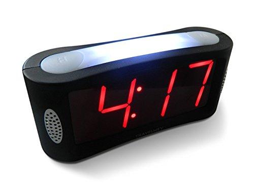 Travelwey Digitaler Wecker - netzbetrieben; Einfach zu bedienenender Wecker mit großem Nachtlicht; Nicht tickend; Schlummer-Modus; Helligkeitsdimmer; gut lesbares Display mit roten Ziffern