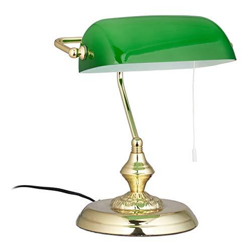 Relaxdays Bankerlampe mit Zugschalter, grüner Schirm, Runder Sockel, Vintage Design, Glas, HBT: 31x22,5x18,5cm, Messing