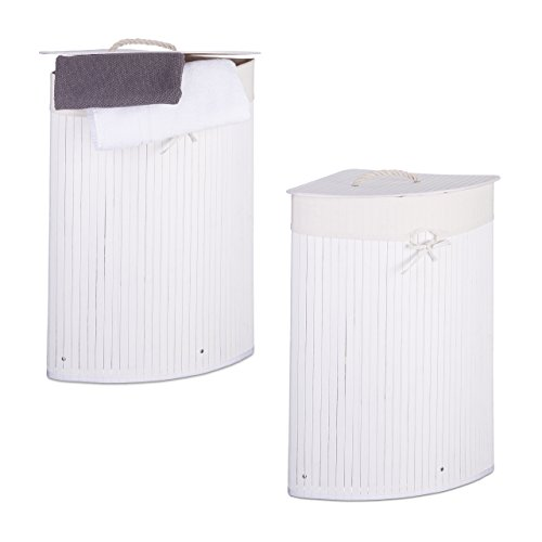 2 x Eckwäschekorb im Set, Wäschetrennsystem aus Bambus, Wäschesammler mit herausnehmbarem Wäschesack, je 64 L, weiß