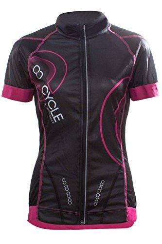 Crivit PRO Damen Fahrradshirt Bikingshirt mit COOLMAX Funktionsfaser Schwarz/Pink M