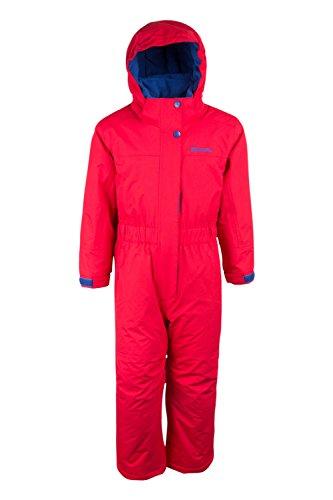 Mountain Warehouse Cloud All In One Schneeanzug für Kinder - Wasserfest, versiegelte Nähte, Winter-Jumpsuit mit Fleecefutter - Ideal für Camping bei kaltem Wetter Rot 104 (3-4 Jahre)