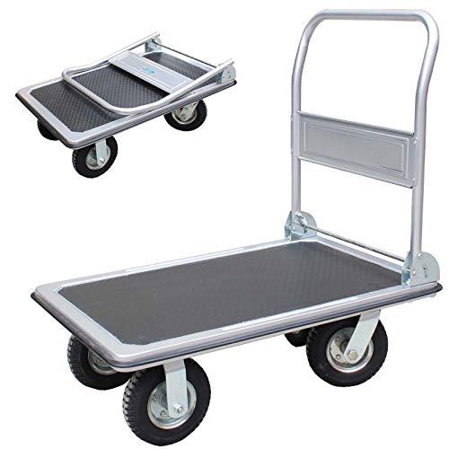 1x Plattformwagen 300 kg luftbereift Transportwagen Handwagen Paketwagen Transporthilfe mit Lenkrollen Transportkarre 22cm XXL Lufträder kugelgelagert 90 x 60 x 96 (L x B x H)