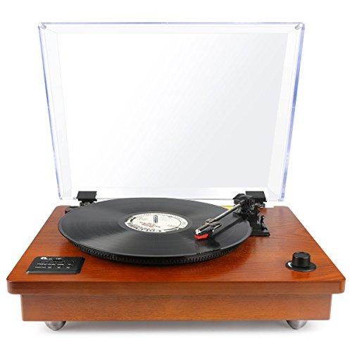 1byone Schallplattenspieler riemengetriebener Bluetooth Plattenspieler mit eingebautem Lautsprechern und Vinyl-To-MP3 Funktion, im klassischem Design, Naturholz