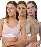 Yenita 3er Set Damen Underwear Modern-Sports-Collection, Bralette, Cotton-Bustier, Gemischt (Pink, Mint, Grau) Gr. S