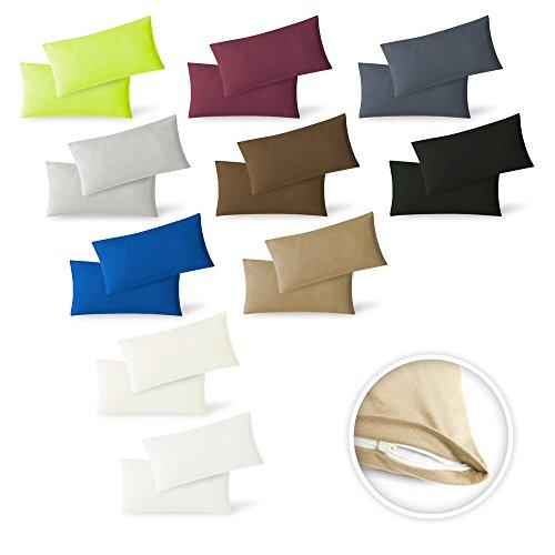 Kissenbezug Ruhekissen-Überzug Kopfkissen-Bezug Kuschelkissen-Hülle 2er Set Sparpack Kissenhüllen mit Reißverschluss in 10 Farben hochwertige Jersey Qualität 100% Baumwolle 40x80 cm natur