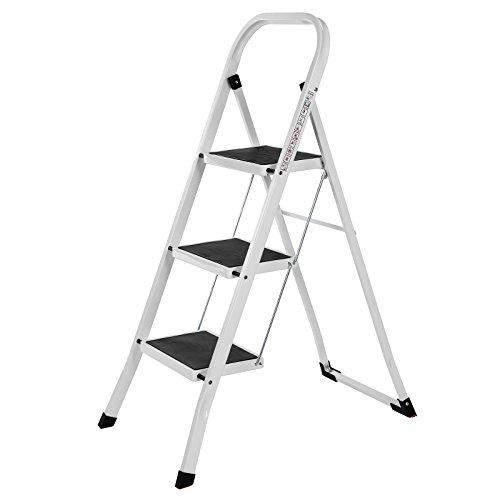 Songmics Stahl Klapptritt Leiter 3 Stufen Sicherheitsbügel, Klappsicherung, einfach zu verstauen, belastbar bis 150 kg TÜV Rheinland nach EN14183 geprüft GSL03WT