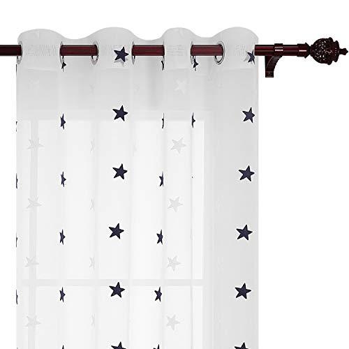 Deconovo Voile Vorhang Ösen Vorhänge Kinderzimmer Dekosachals Vorhang Leinenoptik 175x140 cm Stern Blau