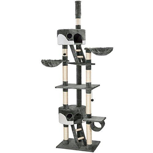TecTake Kratzbaum Katzenbaum für Katzen - deckenhoch (höhenverstellbar von 240-260cm) - Diverse Farben - (Grau-Weiß | Nr. 401640)