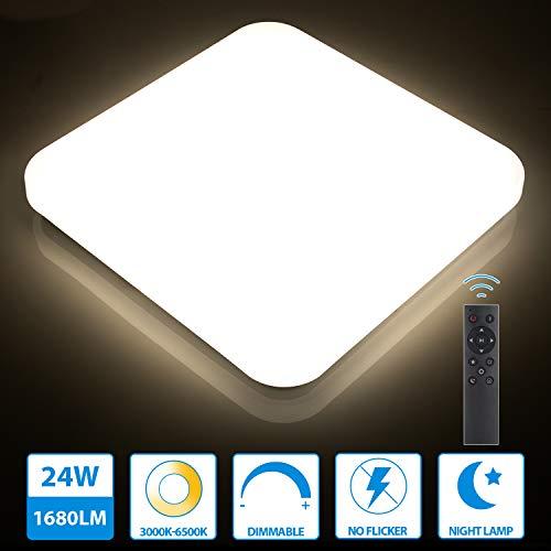Oeegoo 24W LED Deckenlampe dimmbar, 1680LM led Deckenleuchte einstellbar Helligkeit(10% bis 100%) Lichtfarbe(3000K bis 6500K), led Wohnzimmerlampe dimmbar für Küche Keller Flur Speicherfunktion