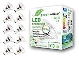 10x greenandco CRI90+ LED Spot 4000K neutralweiß ersetzt 60 Watt GU10 Halogenstrahler, 7W 510 Lumen SMD LED Strahler 36° 230V AC, nicht dimmbar, flimmerfrei, 2 Jahre Garantie