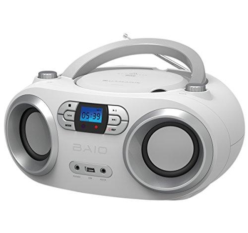 OUTMARK BAIO TRAGBARER CD-RADIO-BLUETOOTH-PLAYER | USB-ANSCHLUSS | AUX-IN | MP3 | FERNBEDIENUNG | LCD-DISPLAY MIT BLAUER HINTERGRUNDBELEUCHTUNG | FM-RADIO | KOPFHÖRERANSCHLUSS | 2 x 1,5W RMS LEISTUNG | BOOMBOX | (WHITE)