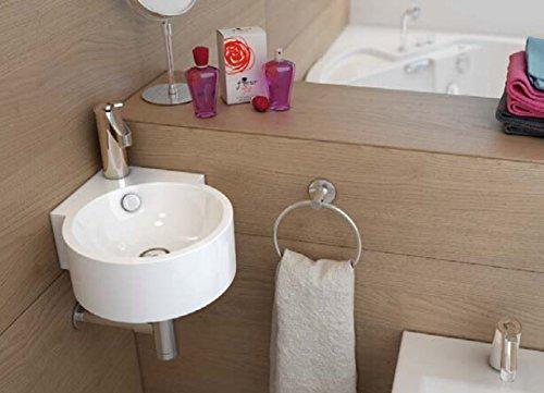 Art-of-Baan Design Handwaschbecken Waschbecken Eckwaschbecken klein 450*330*125 mm mm in Hochglanz weiß, mit Lotus Effekt (Dascha)
