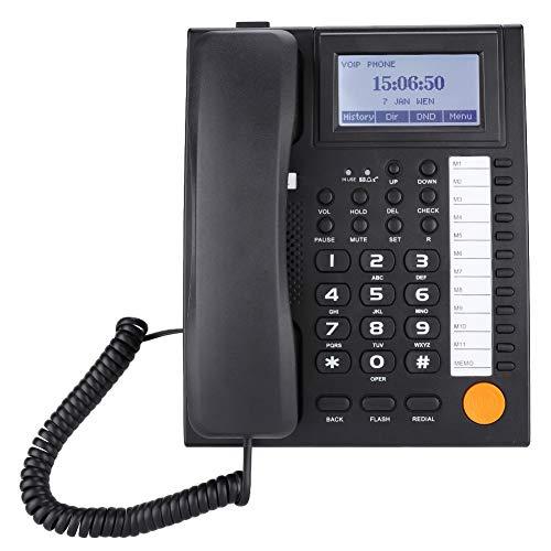 Garsent Schnurgebundenes Telefon, KX-883CID Dual-Port Schnurtelefon mit Direktruf und Freisprech Funktion, Tischtelefon mit LCD-Anzeige(schwarz)