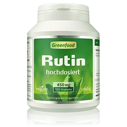 Greenfood Rutin, 450mg, hochdosiert, 120 Kapseln, vegan