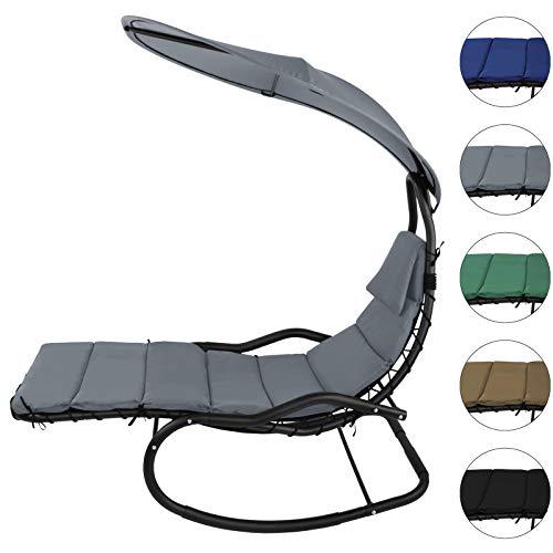 BB Sport Schaukelliege Schwingliege Schwebeliege mit Sonnendach ergonomische Liegefläche 200 x 70 cm inkl. Polsterauflage, Armauflagen und Kopfkissen, Farbe:Perlgrau