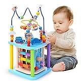 Baobe Würfel Spielzeug für Kinder, pädagogische Perle Labyrinth für Kleinkinder, Sea World 5-in-1 Motorikwürfel Holzspielzeug,Aktivität Würfel Perle Labyrinth