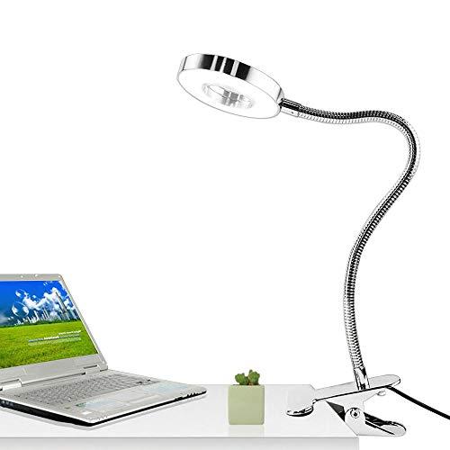 7W LED Klemmleuchte Leselampe Buchlampe Klemmlampe Schreibtischlampe Tischlampe Dimmbar Augepflege Bettleuchte, Warme und Kühle Lichtfarbe (Silber)