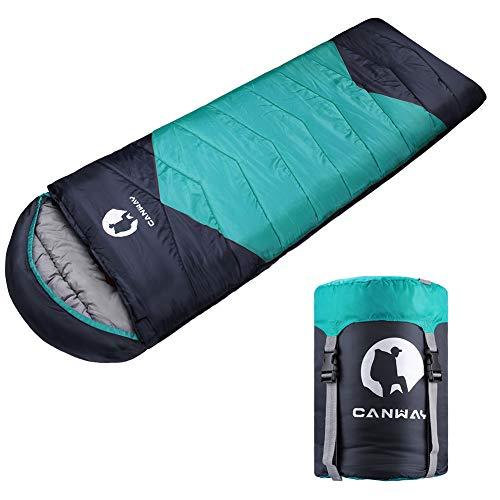 CANWAY Schlafsack Schlafsäcke Mumienschlafsack aus Baumwolle als Füllstoff wasserabweisend für Camping Indoor Outdoor Erwachsene im Winter 1,9KG (Cyan-Ployester) ...