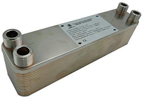 Edelstahl Wärmetauscher Plattenwärmetauscher NORDIC TEC Ba-23-30, 125kW, 30 platten, 3/4'