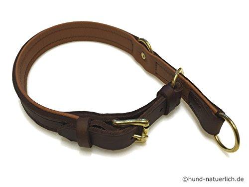 Zugstopp Lederhalsband für Hunde Braun, Messing Gr. 40
