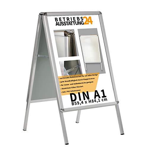 Betriebsausstattung24 Kundenstopper Gehwegaufsteller Werbetafel | für zwei Plakate | Aluminium Plakatständer | inkl. PVC Schutzfolie (A1 B59,4,0 x H84,1 cm)