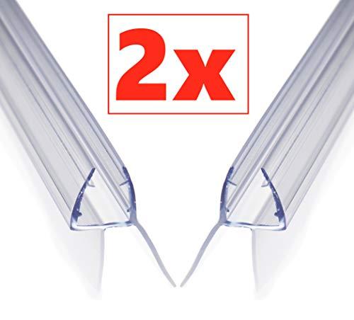 Aulett Premium 2 x 100 cm Duschdichtung - Duschtür und Duschkabinen Dichtung für 6mm, 7mm und 8mm Dusche Glastür - Gummilippe, Duschlippe mit Verlängertem Wasserabweiser für Duschwand
