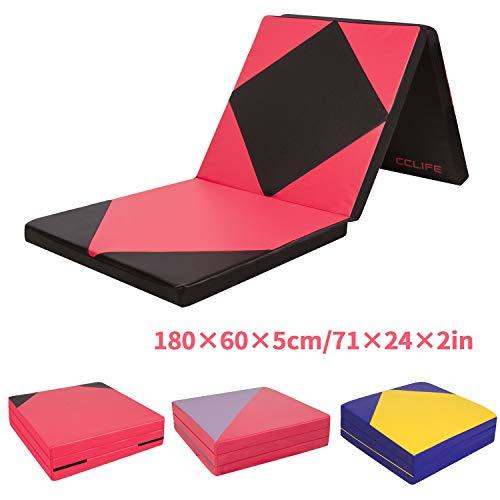 CCLIFE 180x60x5cm Weichbodenmatte Turnmatte Tragbar Klappbar Gymnastikmatte Yogamatte Fitnessmatte Farbauswahl, Farbe:Schwarz & Rot A