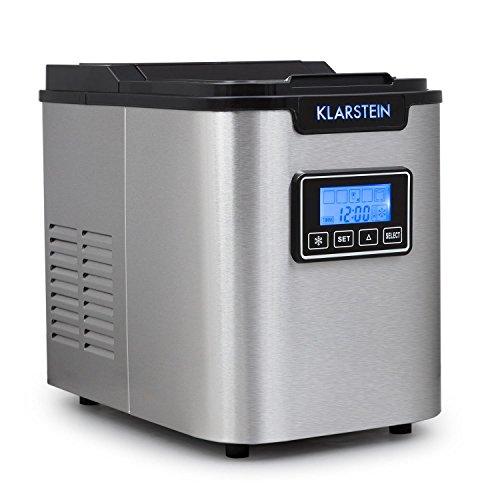 Klarstein Icemeister • Eiswürfelbereiter • Eiswürfelmaschine • Ice Maker • 12 kg / 24 h • 3 Würfelgrößen • Timer • LCD-Display • Selbstreinigungsprogramm • LED-Beleuchtung • Edelstahl • schwarz