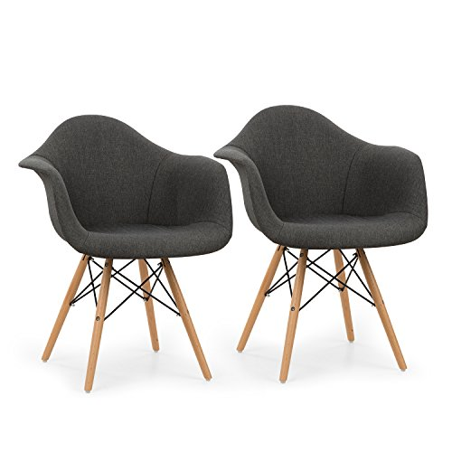 oneConcept Visconti • Schalenstuhl • Retrostuhl • Esszimmerstuhl • 70er-Jahre-Look • Retro-Design • 2-er Stuhl-Set • breite, bequeme Sitzfläche • gepolsterte PP-Schale • Kombination aus Holz, Metall und Kunststoff • Sitzhöhe von 43 cm • grau