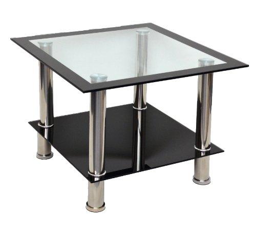 ts-ideen Glastisch Beistelltisch Ecktisch Couchtisch Schwarz mit Edelstahl und 8 mm ESG Sicherheitsglas