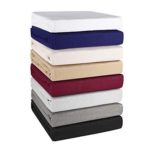 Basatex Winter Spannbettlaken Spannbetttuch Teddy Flausch Thermo Fleece in 8 Farben 4 Größen 200x220 cm auch für Wasserbetten und Boxspringbetten 40 cm Steg Grau
