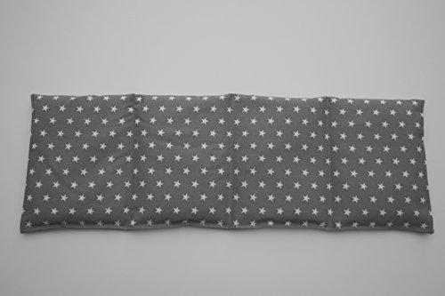 Körnerkissen Bio-Roggen 4-Kammern 50cm x 17cm grau mit weißen Sternen