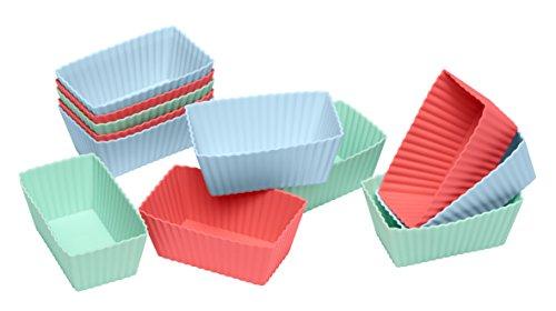 Lurch FlexiForm Brownies Silikonbackformen, 12er Set, Silikon, Pastel Mix, 8 x 4 x 3 cm