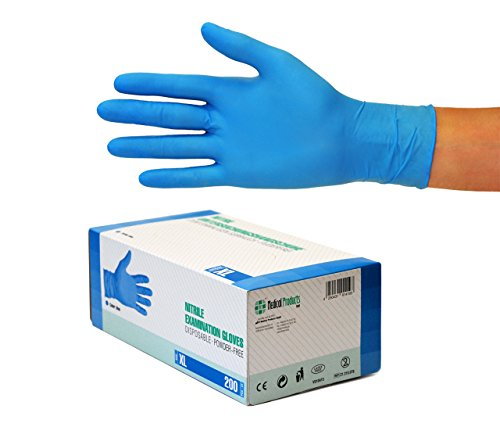 Nitrilhandschuhe 200 Stück Box (XL, Nitril blau) Einweghandschuhe, Einmalhandschuhe, Untersuchungshandschuhe, Nitril Handschuhe, puderfrei, ohne Latex, unsteril, latexfrei, disposible gloves, blue, X