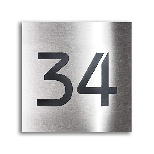 Design Hausnummer-Schild Edelstahl-Plakette - inklusive Gravur-Service & Montage-material - Unterputz-Montage (20 x 20 cm)