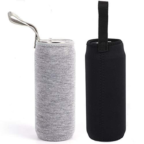 Nuluxi Wasserflasche Neopren Beutel Flaschen Thermo-Hülle Taschen Isolierte Neopren Flaschenhülle Passend für Teeflaschen Teebereiter Glas Wasser-Flasche und Teegläser (1 Stück Schwarz +1 Stück Grau)