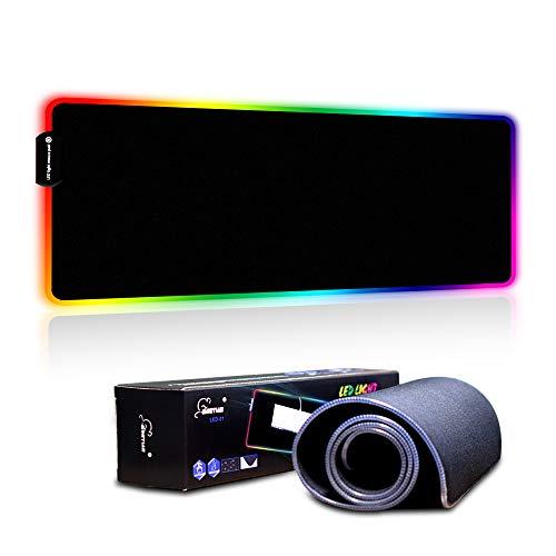 TYBLOOMY Gaming Mauspad mit RGB Beleuchtung, 7 LED Farben 9 Beleuchtungs-Modi USB Gaming Mouse Mat, Desk Anti Rutsch Matte für Computer, Professionelle Gamer